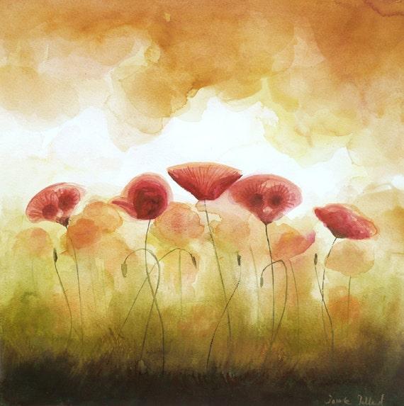 Magical Watercolor Painting Poppies - Power of Flower -  Romantic Original Painting - Warm Tones Aquarelle