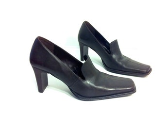 Espresso Leather Heeled Loafers 6