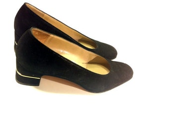Black Leather Salvatore Ferragamo Pumps 7 - Gold Lined Square Toe Chunky High Heels 7 -  Black Womens Dress Shoes 7