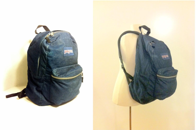 Large Denim Backpack 90s Oversized Jansport Blue Jean