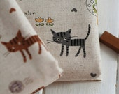 Kids Cute Fabric Children's Drawing Cotton Linen Fabric Cat Travel Round The World  - 1/2 Yard