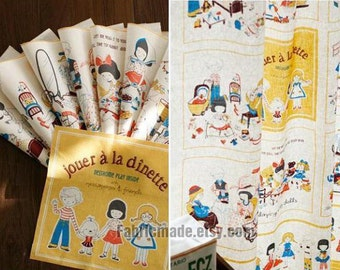 Child's Fabric Kids Quilting Fabric Linen Cotton Fabric with Boys Girls Cloth Book Child Decor Fabric- One panel 31'X55""