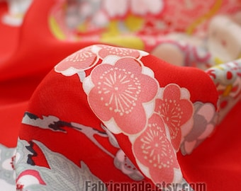 100% silk Crepe De Chine Red Floral Fabric Peony Flower Silk Fabric- Heavy weight 1/2 meter
