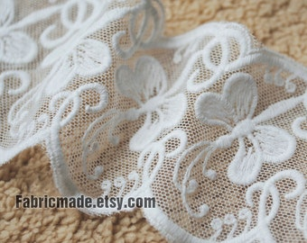 White Lace Trim, Dragonfly Embroidery Cotton Lace Trim, Bridal Lace Wedding Lace, Cotton Embroidery Lace- width 5.5cm one yard Lace