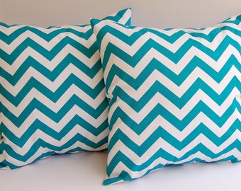 Turquoise chevron throw pillow covers pillow shams cushion covers turquoise and white Chevron zig zag