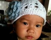 Summer Shell Stitch Crochet Hat with Light Blue Flower - Infant Toddler Child sizes
