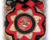 Christmas Ornament  Marines Military Unique Handmade Keepsake Quilted Ornament