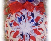 Christmas Ornament Star Spangled Patiotic Unique Handmade Keepsake Quilted Ornament