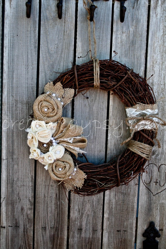 Rustic Rancher Wreath-- Lace And Love (Shabby Style)