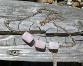 Triplet of Smooth Pink Morganite Rectangles on Gold-Filled Necklace