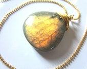 firefly - fiery labradorite wire wrapped gemstone pendant - gold briolette necklace