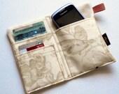iPhone wallet, iPhone 4 wallet, linen iPhone wallet, linen cell phone wallet, natural birds, butterflies, flowers toile fabric