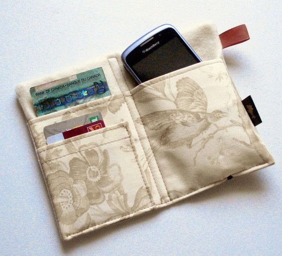 iPhone wallet, iPhone 4 wallet, linen iPhone wallet, linen cell phone wallet, natural birds, butterflies, flowers toile fabric