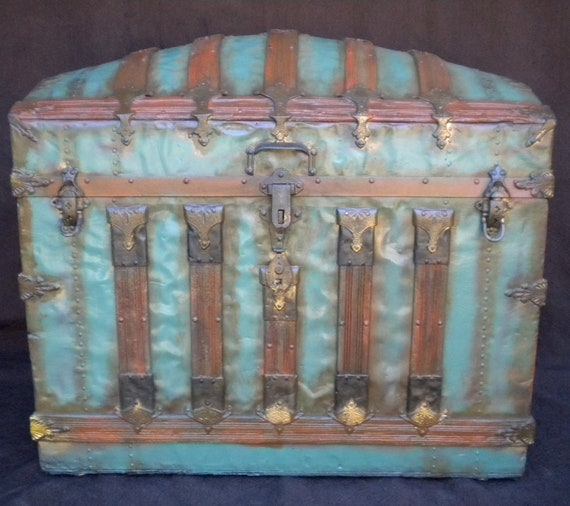 1850 Antique Steamer Trunk Dome Rounded Top Camel Back