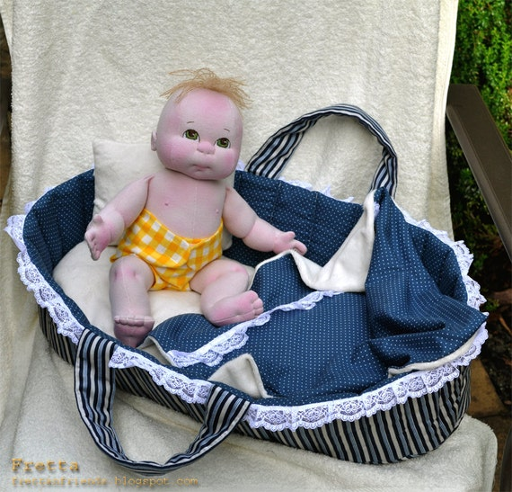 """Little Darling 06'2012.  PlaySet: 38 cm / 15"""" Soft Sculpture Baby, Child Friendly All Natural Cloth Doll, 2  Outfits, and a Bassinet."""