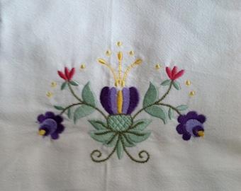 Folk Art Embroidered Organic Cotton Flour Sack Towel