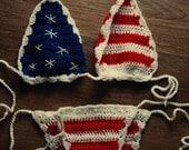 Crochet Bikini Top AMERICAN FLAG  4th of July / Stars and Stripes Americano