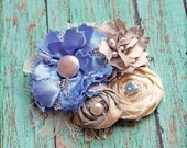 Wedding Hair Accessory, Periwinkle, Grey, Cream Hair Piece, Bridal Headband, Bridesmaid's Hair Clip, Flower Headband, Fabric Flower Brooch