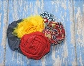 Yellow, Red, Navy Headband, Hair Accessories, Mustard Fabric Flowers, Hair Clip, Baby Girl Hair Bows, Fabric Flower Brooch