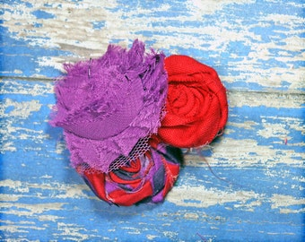 Purple, Red Headband, Plum Hair Accessory, Red Hair Accessories, Aubergine, Hair Accessory, Hair Clip, Purple Fabric Flower Clip, Hairbow