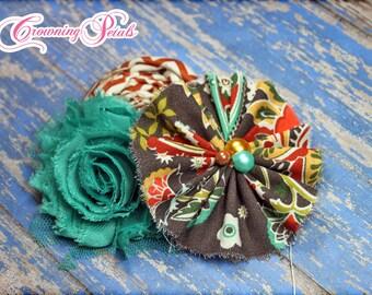 Turquoise, Brown, Rust Hair Accessory, fabric flower headband, baby girl hair piece, newborn hair bows, women's brooch