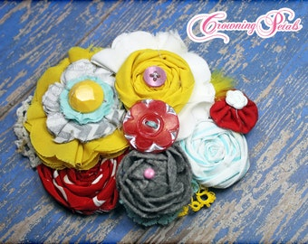 Aqua, Mustard, Grey, Red Hair Accessories, Fabric Flower Headband, Baby Girl Hair Bows, Flower Brooch, Infant Headband, Photo Prop