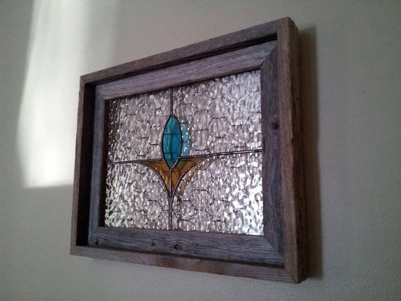 rustic wood framed stained glass panel