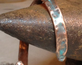 small handmade hammered copper cuff/bangle bracelet made from reused plumbing pipe can be worn either way