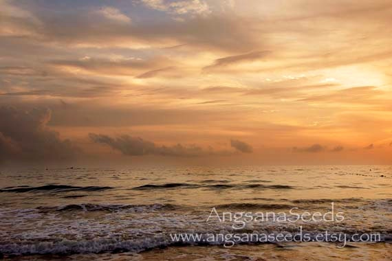 "Golden Sea Sunset Photo, Beach, 8""x12"" photo, yellow, blue sky, wall decor, Resort, ocean, wave, orange, gift under 50"