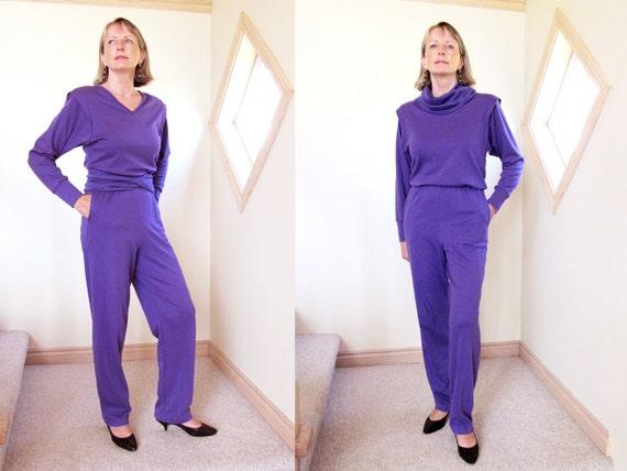 Purple jumpsuit 2 piece with wrap belt V neck long sleeve 80s womens size small jumpsuit elastic waist purple knit jumpsuit fall fashion