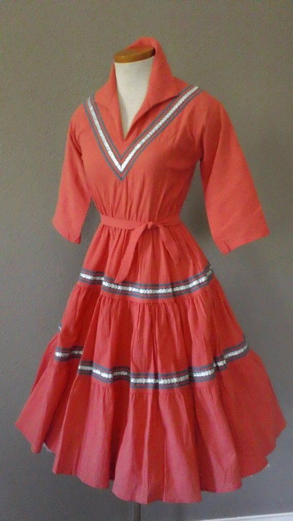 RESERVED BILLIE 50s Coral Turquoise and Silver Circle Swing Squaw Dress