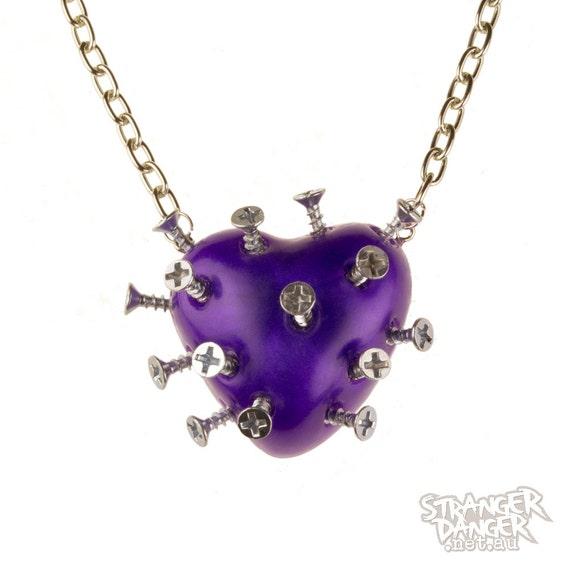 Purple Broken Heart Necklace With Screws (goth, jewellery, punk, emo, alternative, industrial, ndie, Rockabilly, Lolita, Cyber)