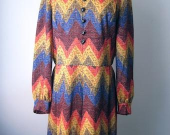 Vintage 60s 70s - Long Sleeve Dress - Orange / Blue / Yellow - Retro Zig Zag Print - Womens Size M / L