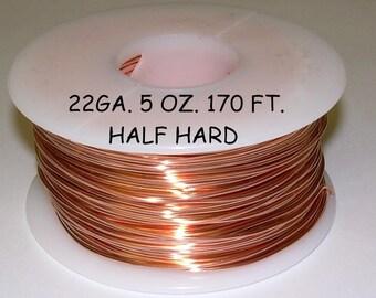 Genuine Solid Copper Wire  22ga 5 OZ. 170 Ft. (Half Hard)  bright copper
