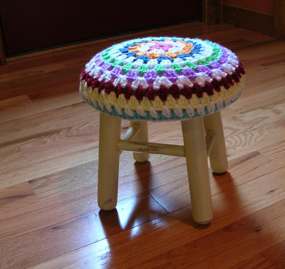 Shabby Chic Wood Stool with Granny Square Cover  Recycled Upcycled Farmhouse Chic