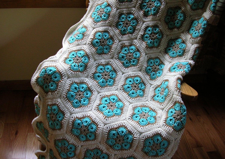 Easy African Flower Crochet Pattern : Crochet Afghan Blanket Aqua Turquoise Beige White African