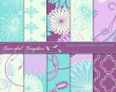 Scrapbook Paper Pack Digital Scrapbooking Background Papers 10 Sheets 8.5 X 11  DAMASK Lilac PURPLE Turquoise 1086gg
