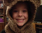 Crocheted Teddy Bear Hood and Neckwarmer