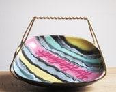 Funky square ceramic bowl in a metal basket  (Germany, 1960s)