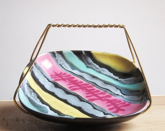 Funky square ceramic bowl in a metal basket  (Germany, 1960s)
