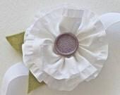 White Ruffle Flower Headband