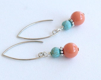 SALE Coral and Turquoise Earrings in Silver - Swarovski Pearl on Silver Earwire - Marquise Drop Earring