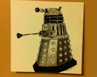Dalek - Dr Who - Original Art Ink, Graphite and Charcoal on 6x6 Smooth Bristol
