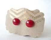 Candy Apple Red Stud Earrings. Hand Crafted.  Includes Gift Box