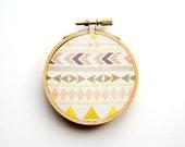 Tribal Pattern Hoop Art - 3 Inch Modern Wall Hanging - Contemporary Design - Original Pattern - Aztec - Triangles Chevron Arrows