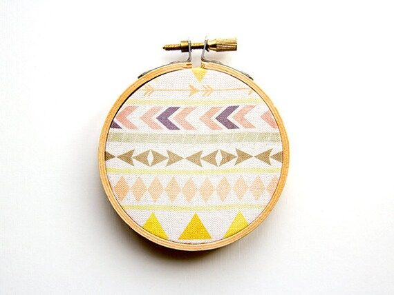 Tribal Pattern Hoop Art - 3 Inch Modern Wall Hanging - Contemporary Design - Original Pattern - Aztec - Triangles Chevron Arrows