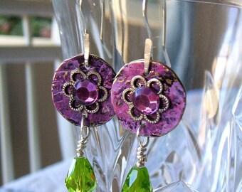 Purple rhinestone and green crystal earrings - Hammered metal disk wire wrapped earrings