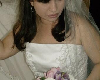 Veil, Lace Edge Wedding Veil, Blusher Veil, Drop Veil, One  Layer Veil, Classic Veil, Ivory Veil.