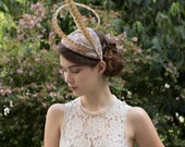 Couture Millinery Pheasant Feather Statement hat, Derby day, Race hat, fascinator, Cocktail hat, with Vintage Veiling