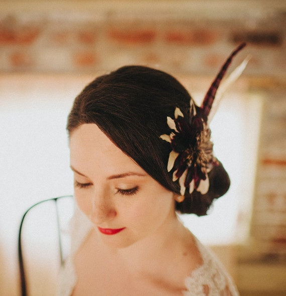 Art Deco Art Nouveau Purple and Cream Fall Feather Bridal Fascinator Vintage Inspired,